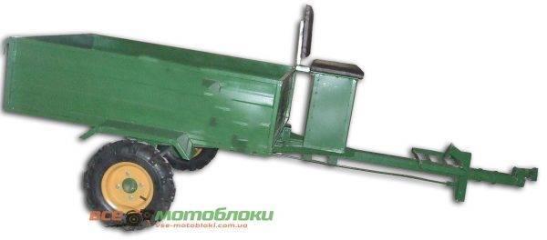 Прицеп-самосвал Тормоза Ленточные под ступицу мотоблочных колёс (+1100гр колес 4,00-8,00) (БУЛАТ)
