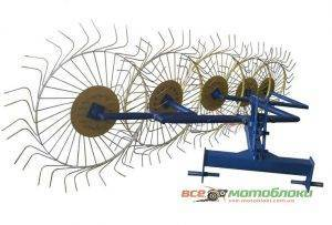 Грабли-ворошилки Солнышко 5-ти колесные - 350 см (с оцинкованными спицами)
