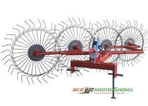 Грабли-ворошилки Солнышко 5-ти колесные - 350 см (красно-серый)