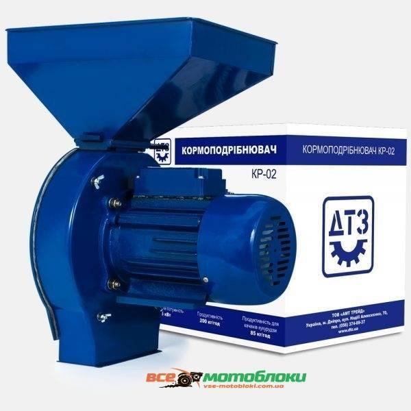 Кормоизмельчитель ДТЗ КР-02A  (зерно + початки кукурузы, производительность 200 кг/ч, алюминиевый корпус двигателя)