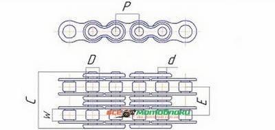 Цепь привода понижающего редуктора 17 звеньев - 168F
