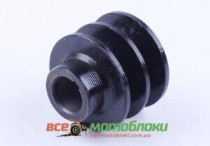 Шкив ремня ведущий 2 ручья (посадочн. ?19mm) - 168F